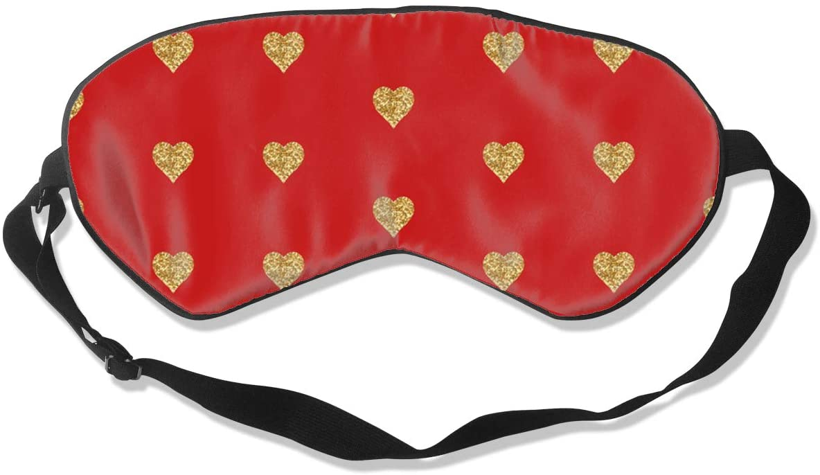 Glitter Hearts Red Comfortable & Super Soft Eye Mask Eye Cover for Men Women Kids,Soft and Light Personalized Sleep Mask,Helps Sleep Soft Blindfold Sleep Mask Eye Patch