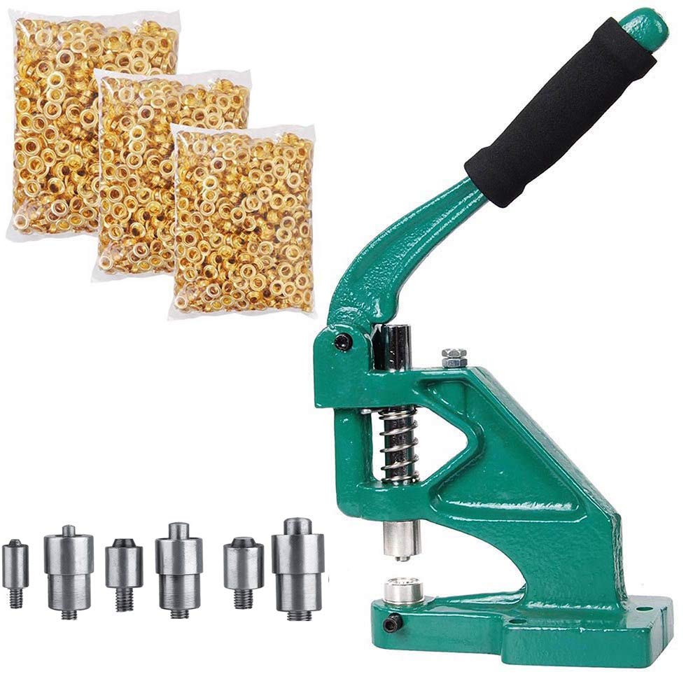 Eyelet Grommet Machine Hand Press Grommet Machine with 3 Dies (#0#2#4) and 1500 Pcs Golden Grommets Eyelet & Rolling Base Tool Kit Applicable for Curtains,Scrapbooking,Belts, Bags, Shoes and More