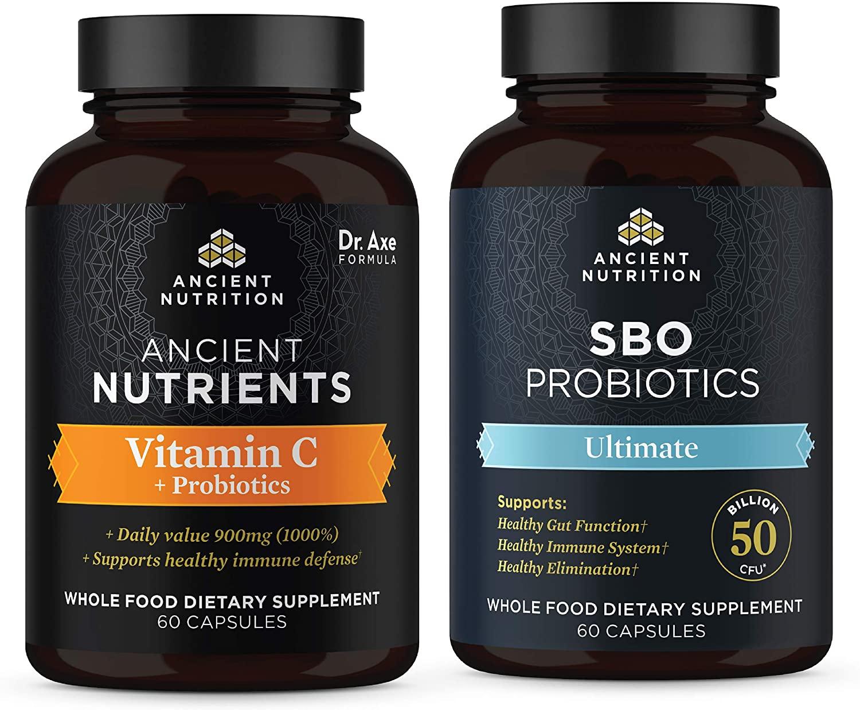 Ancient Nutrition SBO Ultimate Probiotics and Vitamin C + Probiotics Bundle