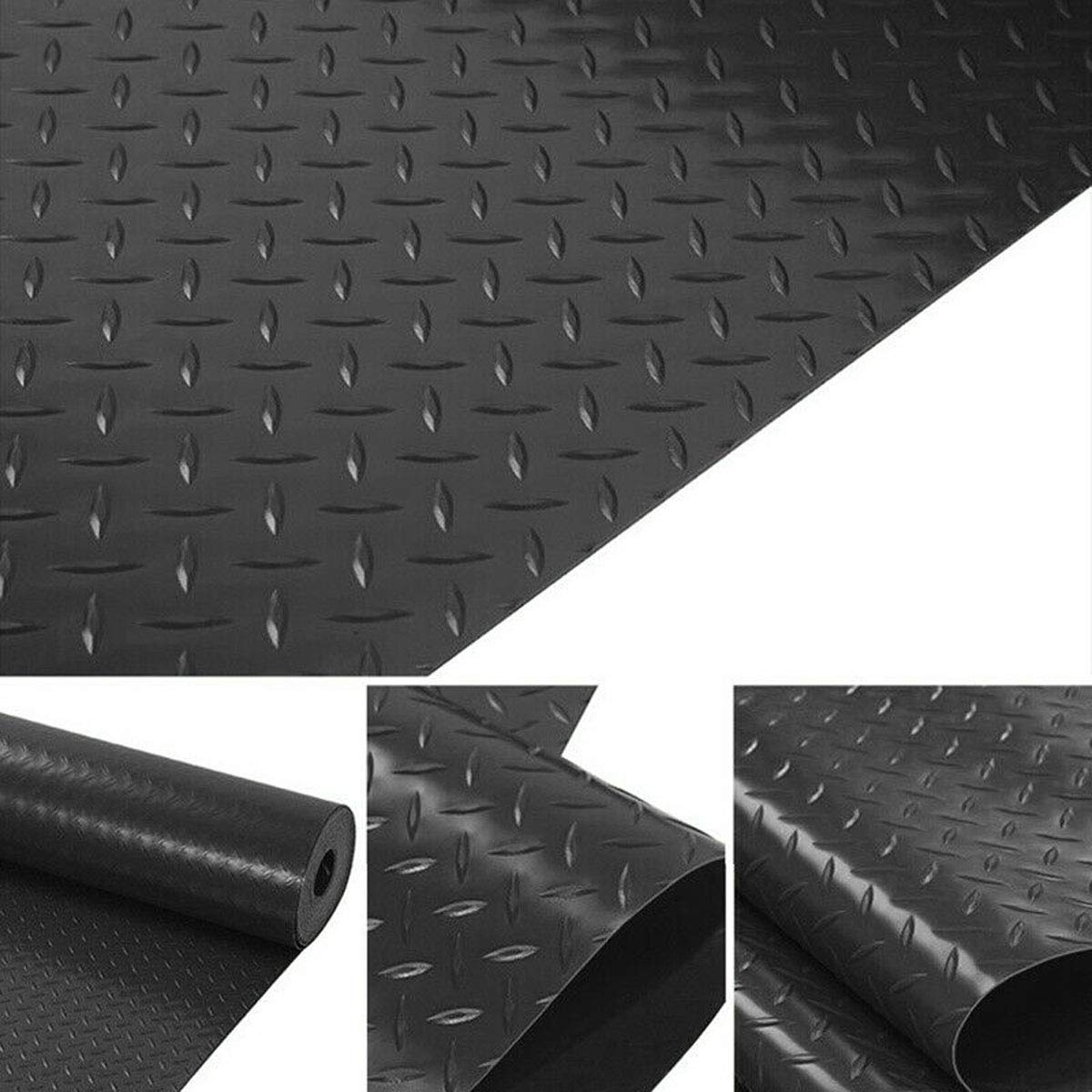 uyoyous Rubber Diamond Mat Plate Damping Insulating Carpet Protective Flooring Rolls 3.3' Width x 16.4' Length x 1/8'' Thickness Cuttable Universal for Gym Garage Factory