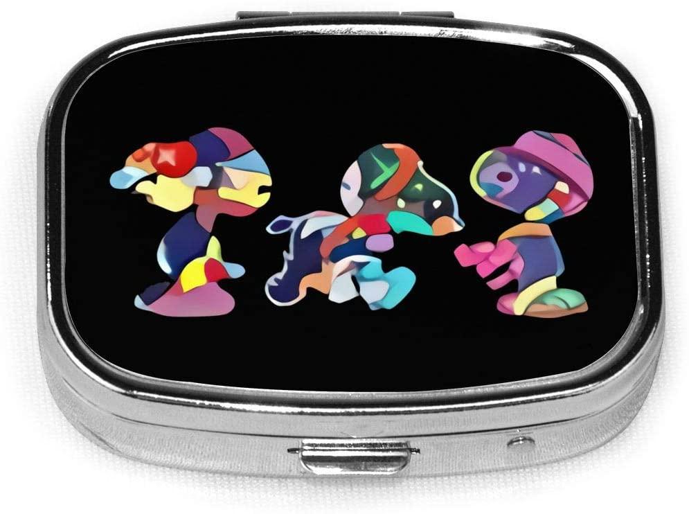 KAWS Snoopy Set Custom Fashion Silver Square Pill Box Medicine Tablet Holder Wallet Organizer Case for Pocket Or Purse