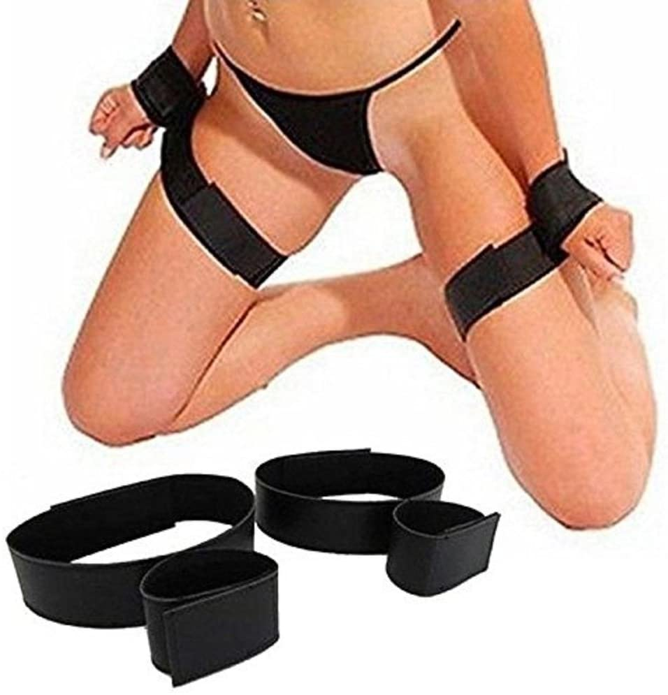 Kemuse Sex Nylon Velcro Hand Cuffs Bondage Wrist and Thigh Restraints Strap in Black, 4 Ounce