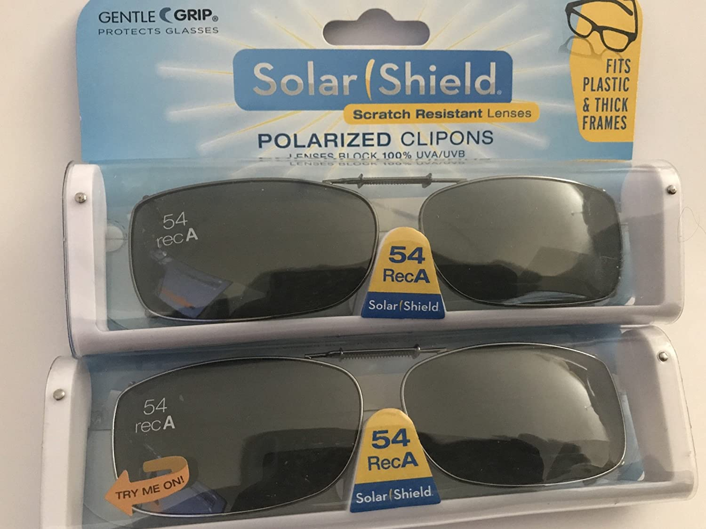 2 Pair 54 Rec A polarized clip-on sunglasses gray lens fit plastic frames / thick lens
