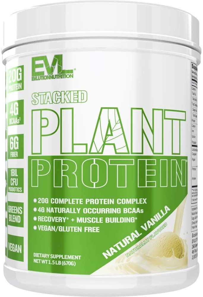 Stacked Plant Protein Powder, All-Natural Vanilla, Vegan, Non-GMO, Gluten-Free, Probiotics, BCAAs, Fiber, Complete Plant-Based Protein Complex (1.5 lb Tub)
