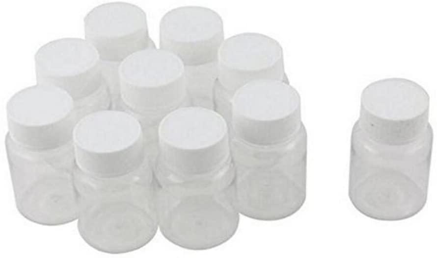 50PCS 30ml/1oz Empty Refillable Plastic Round Medicine Bottles Storing Pill Tablet Container Holder Convenient Case Box Portable Travel Bottles (White)