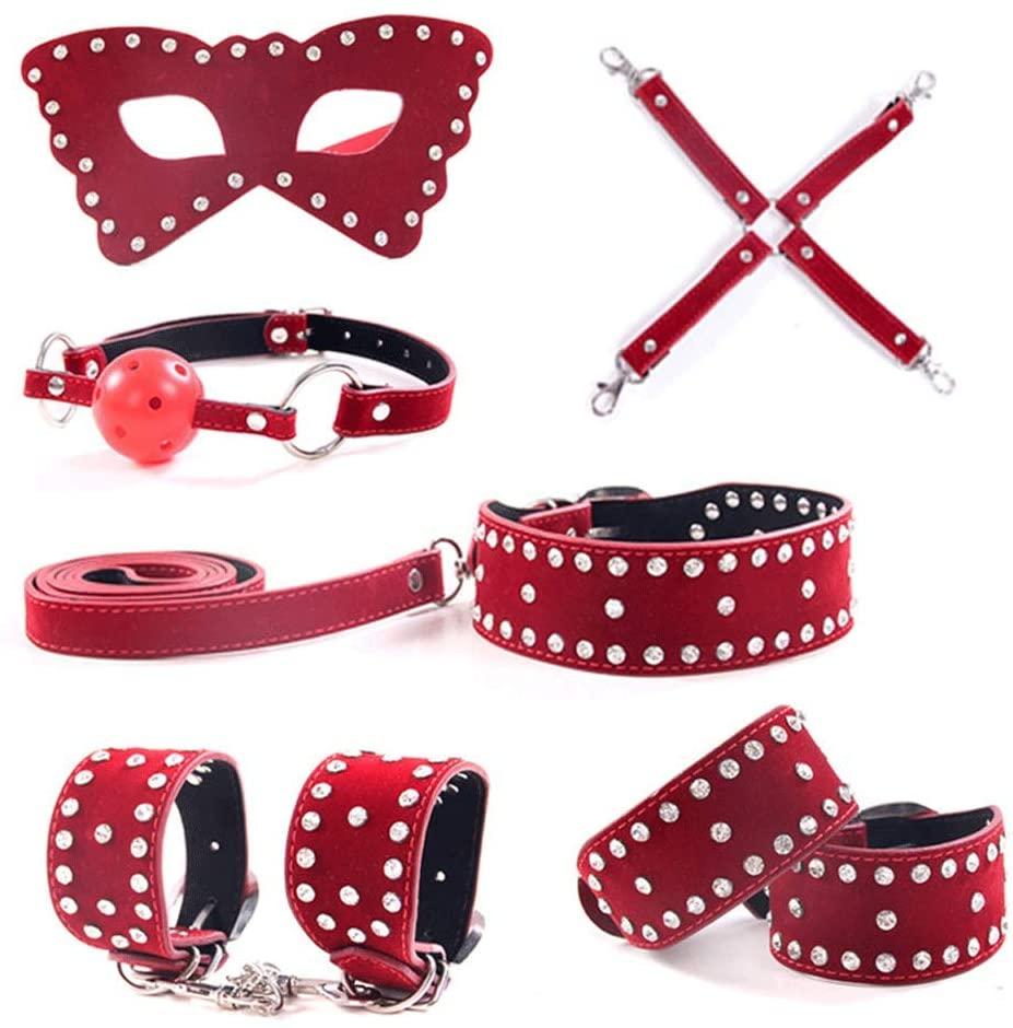 LITI-B-DS-M Re-straints Sex Toys Bondage Restraints Set Fetish Bed Restraints Kits for Beginners S-M Adult Games Cuffs Gag Blindfold - 222-LITI