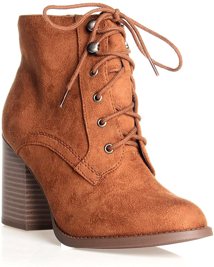 Soda Women's Lace Up High Chunky Heel Ankle Booties
