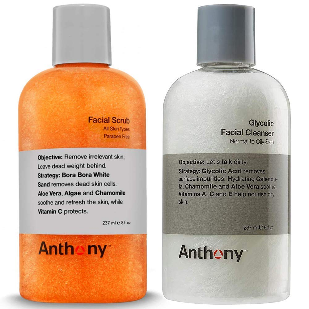 Anthony Glycolic Facial Cleanser, Normal to Oily Skin 8 Fl Oz, and Anthony Facial Scrub, 8 Fl Oz