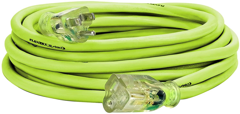 Flexzilla Pro Extension Cord, 14/3 AWG SJTW, 25 ft., Lighted Plug, Indoor/Outdoor, ZillaGreen - FZ512725