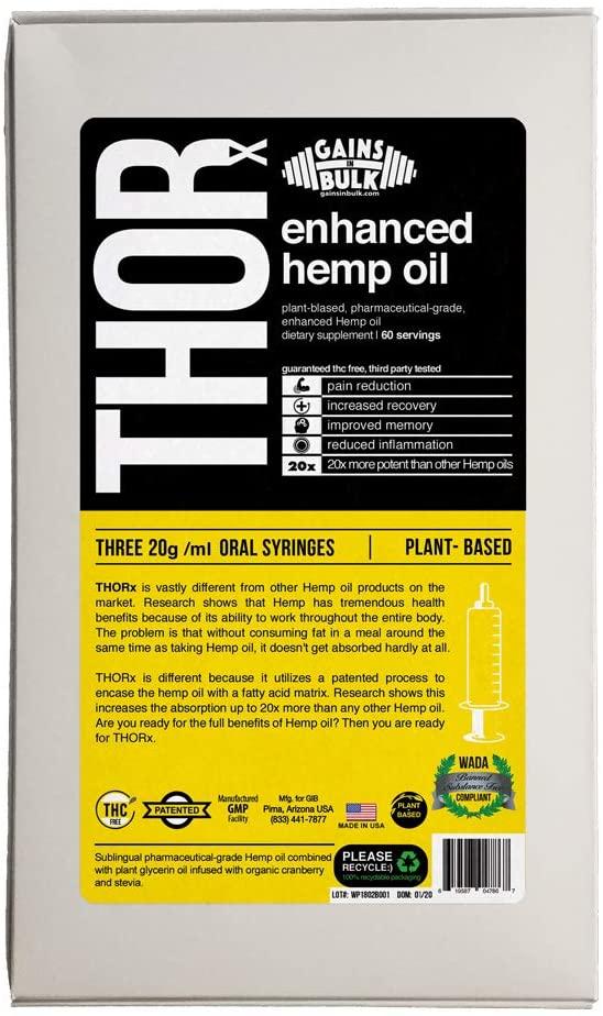 Gains in Bulk, THORx, Enhanced Therapeutic Hemp Oil, 60 G/mL