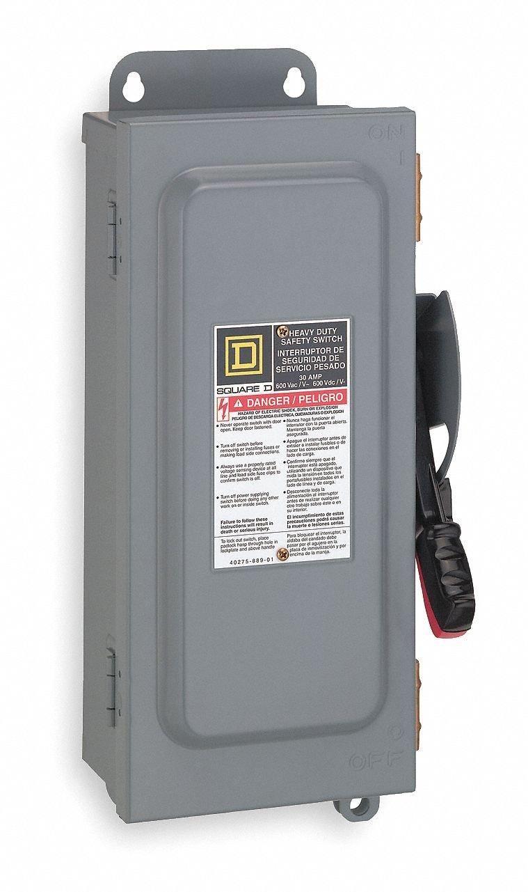 Square D - HU361NAWK - Safety Switch, 12 NEMA Enclosure Type, 30 Amps AC, 20 HP @ 600VAC HP