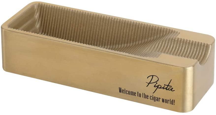 PIPITA Cigar Ashtray Rectangular Metal Ashtray Unique Double Slot Design Large Ash Receptacle for Travel/Patio/Home (Gold)