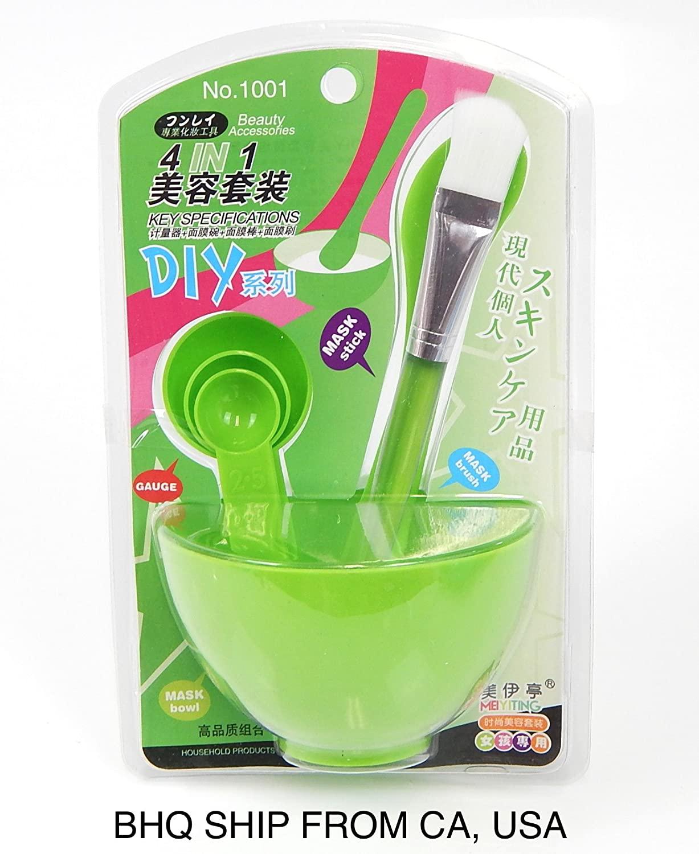 4 in 1 DIY Facial Mask Bowl Brush Stick Measuring Spoon (Green)