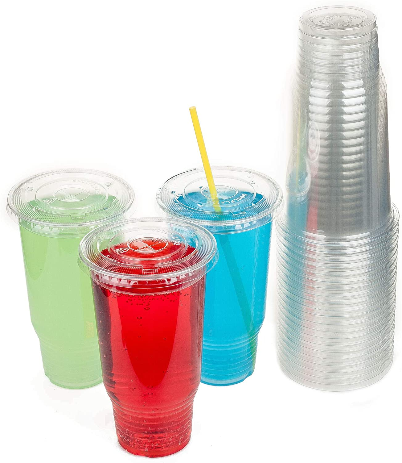 GOLDEN APPLE Cup series, 32oz Clear Plastic cups with Flid lids with X hole 25sets