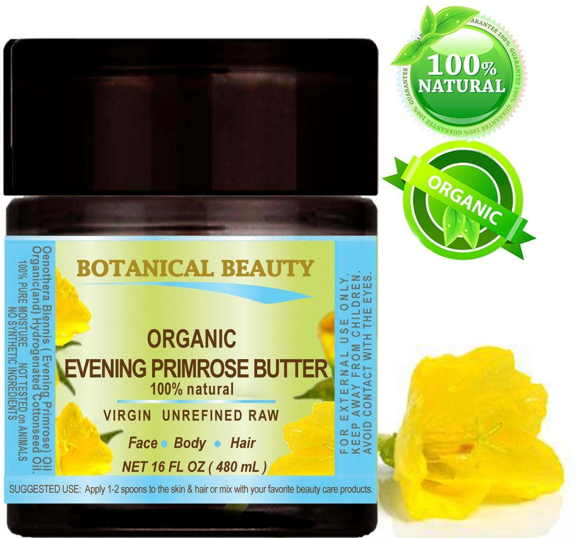 ORGANIC PRIMROSE OIL BUTTER. 100% Natural/RAW/VIRGIN/UNREFINED. 16 Fl oz - 480 ml. for FACE, BODY, HANDS, FEET, NAILS & HAIR and LIP CARE.