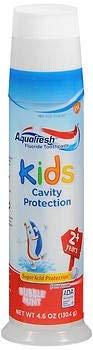 Aquafresh Kids Fluoride Toothpaste Bubble Mint Pump - 4.6 oz, Pack of 3