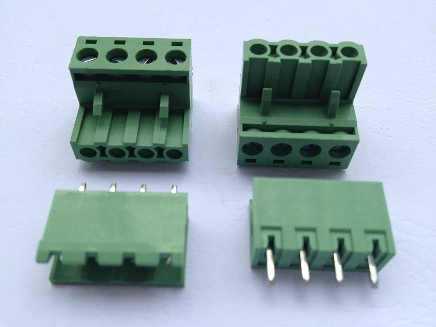 40 Pcs 4pin/way Pitch 5.08mm Screw Terminal Block Connector Green Color Pluggable Type With Straight Pin