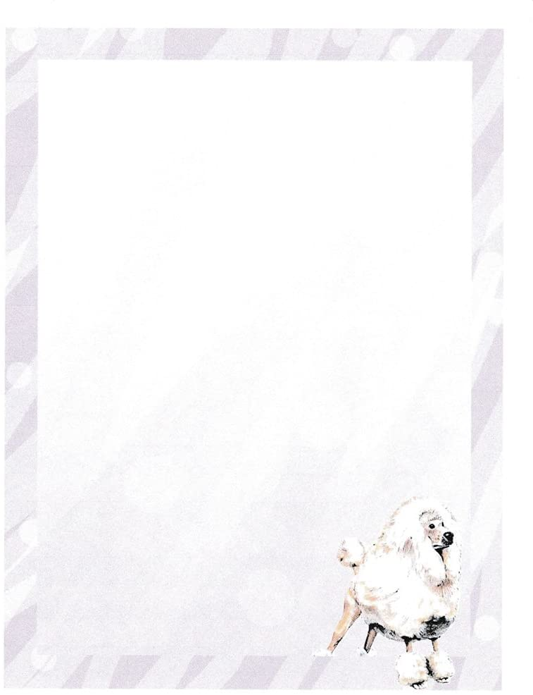 New Poodle Dog Letterhead Stationery Paper 51 Sheets