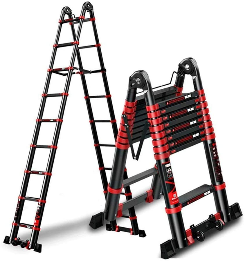 LADDERS Telescoping Extension Ladder, Multi-Purpose Folding Portable A-Frame with Hinges and Support Bar, 330Lb Load Capacity for Home Loft Office (Size : 1.7+1.7M)