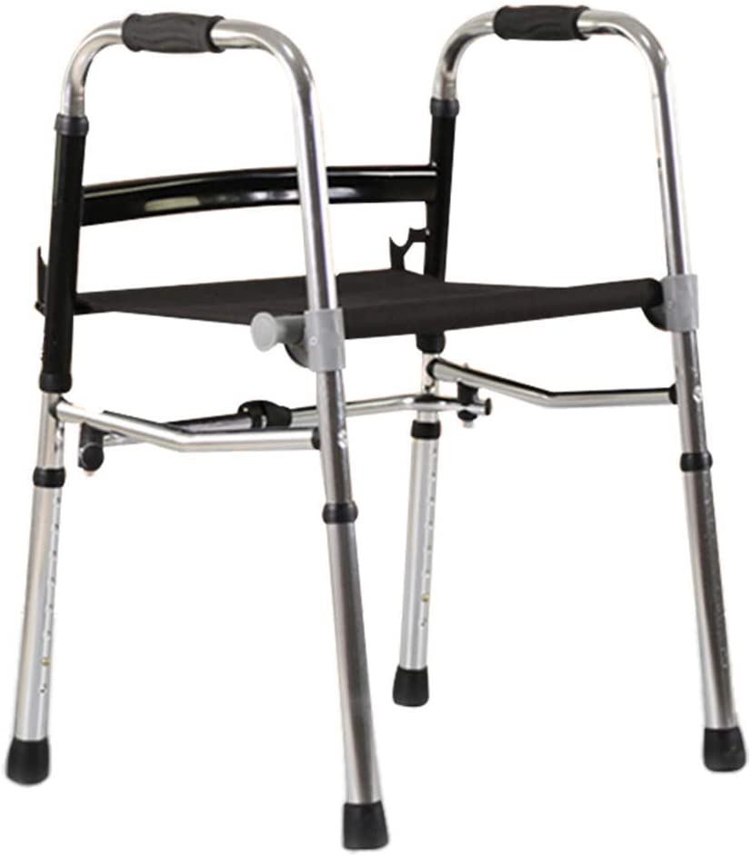 HTL Walking Aid Folding Walker for Seniors - Adult Walker -Oxford Cloth Seat- Portable Walker with Adjustable Height for Disable or Seniors, 27-33Inches