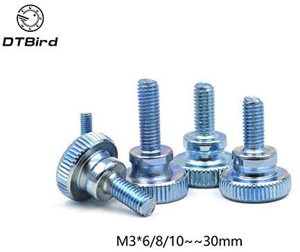 Ochoos 10Pcs DIN464 GB834 M3 M4 Stainless Steel Knurling Head Knurled Thumb Screw Hand Tighten Curtain Wall Glass Lock Screws - (Size: M4, Length: 12mm)