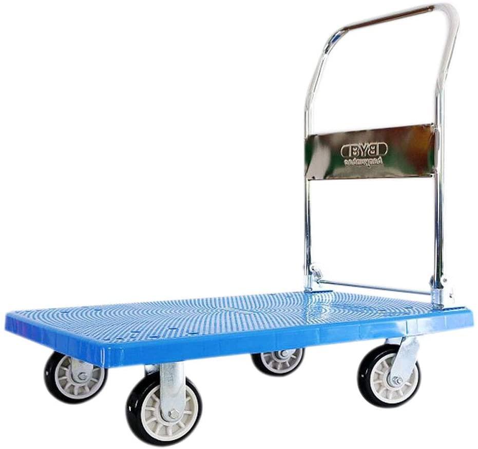 ZHHL Platform Trucks,Warehouse Office Garden Garage Workshop Folding Heavy Duty Flat Bed Transport CartHome Hand Trolley (Color : B)