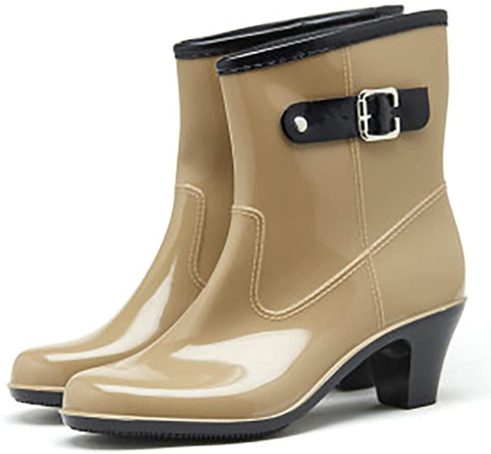LIURUIJIA Tall Rain Boots for Women Waterproof Ultra Mid-Calf Fashion Mid-Calf Strap Buckle Garden Shoes Footwear 815