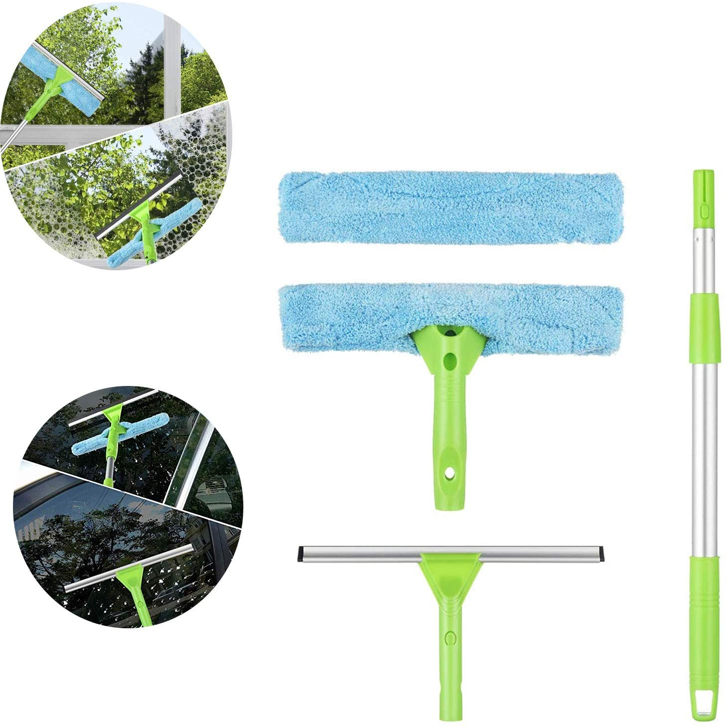 AWZSDF Window Squeegee Cleaner,3 in 1 Window Squeegee Natural Rubber Scraper Head, Microfiber Fabric, Viscous Strip Design, Extended Telescopic Rod for Window Glass,Car Windshield