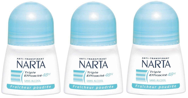 Narta - Déodorant Femme Bille Fraicheur Poudrée Efficacité 48h - 50 ml - Pack of 3
