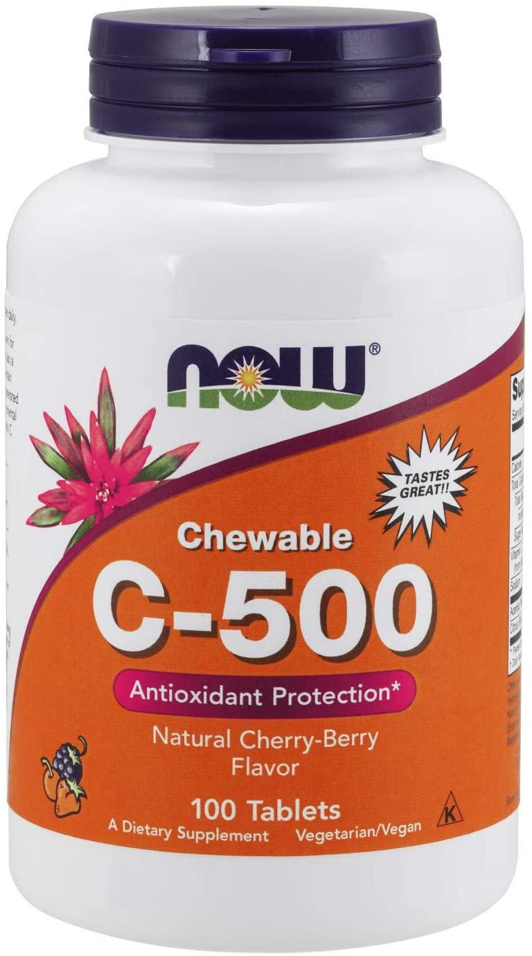 NOW Supplements, Vitamin C-500, Antioxidant Protection*, Cherry-Berry Flavor, 100 Chewable Lozenges