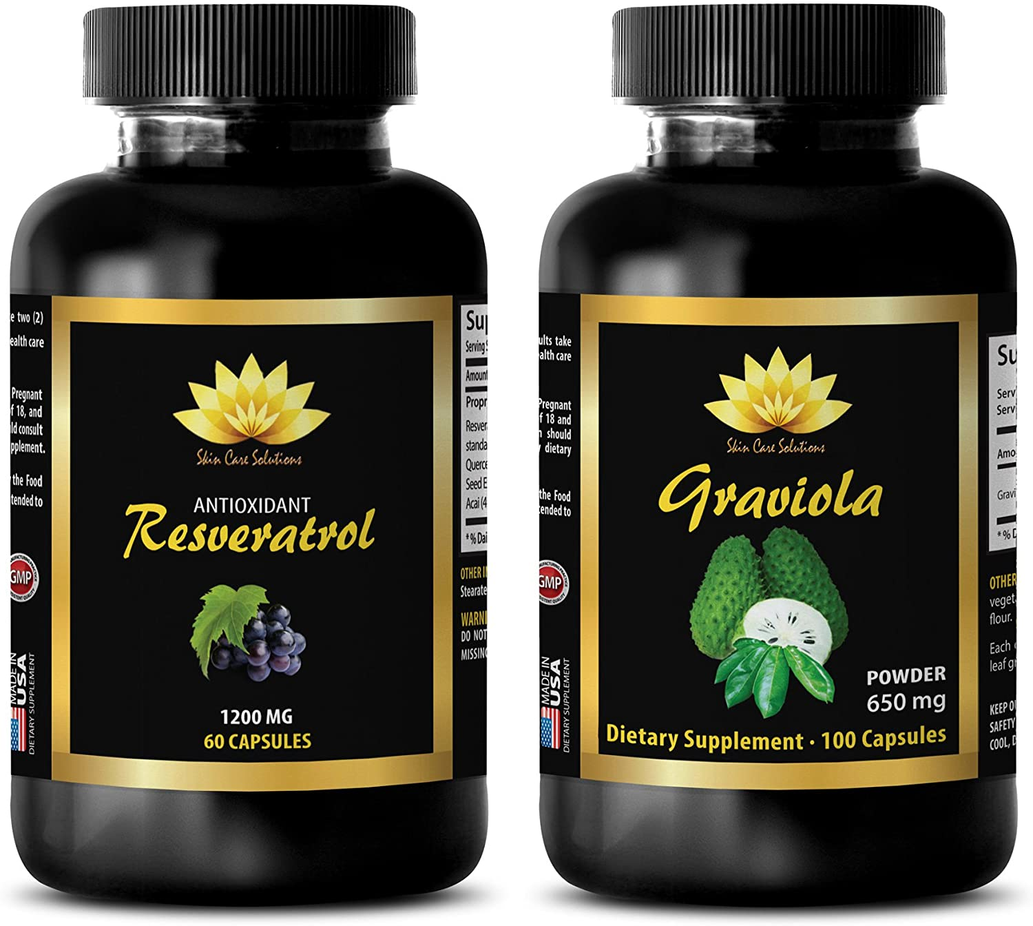 Weight Loss Protein Powder for Women - RESVERATROL – GRAVIOLA Combo - resveratrol Aging Supplements - 2 Bottles - (60+60 Capsules)