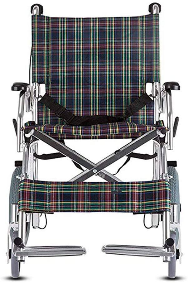NACHENW Aluminium Lightweight Folding Wheelchair with Handbrakes for Elderly Handicapped and Disabled Users