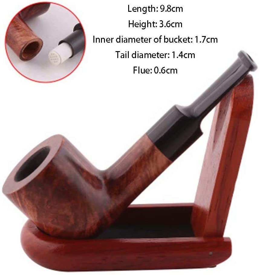 LP-LLL Tobacco Pipe, Smoking Wooden Pipe with Foldable Pipe Stand Men Made of Dark Wood Classic Carving, Briar Wood Curved Smoking, Tobacco Cigar Bucket Set