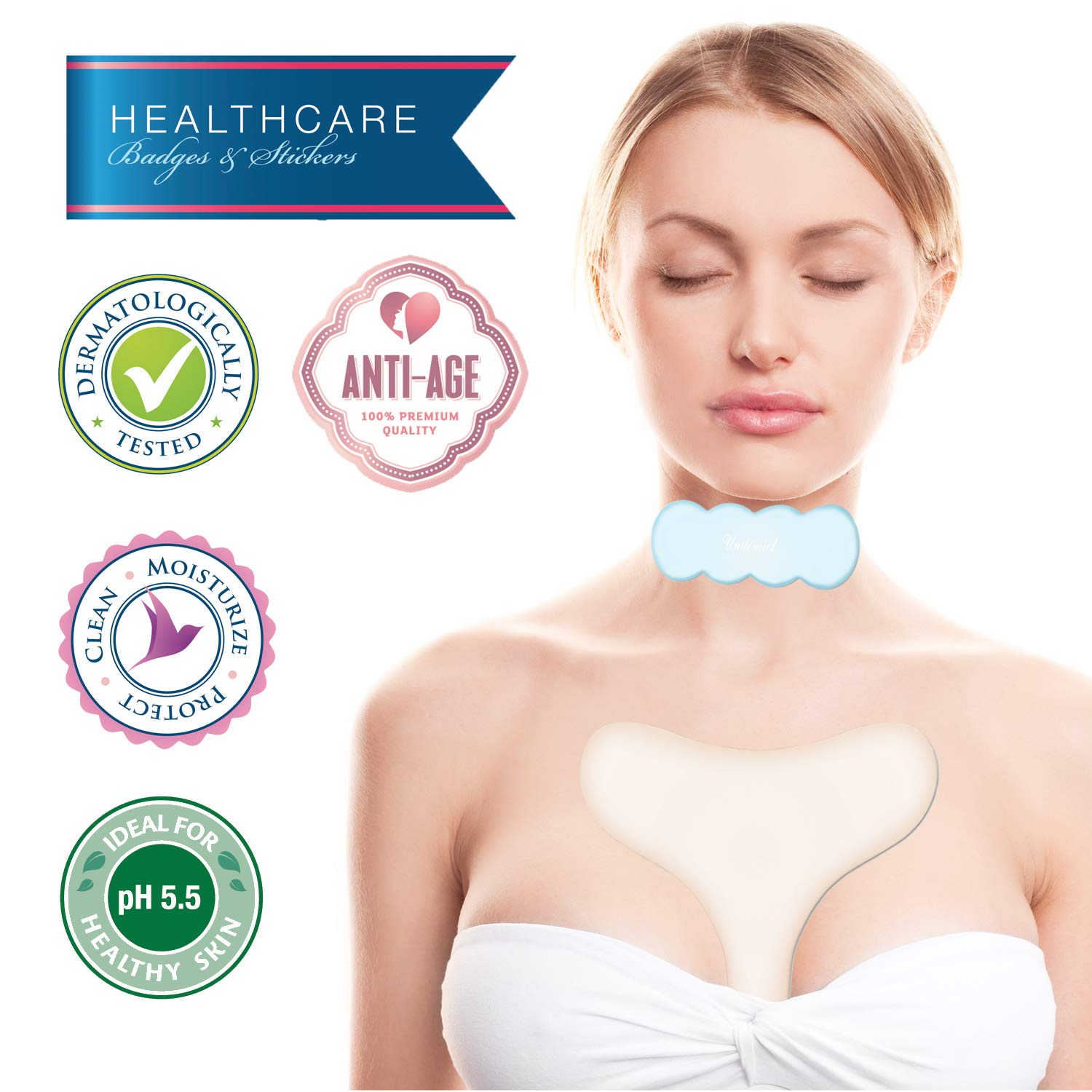 UNDOMIEL Beauty Healthcare Smoothing Silicone Pads For Chest & Neck Anti Wrinkle Prevent Stretch Improve Sleeping Medical treatment (Pearl)