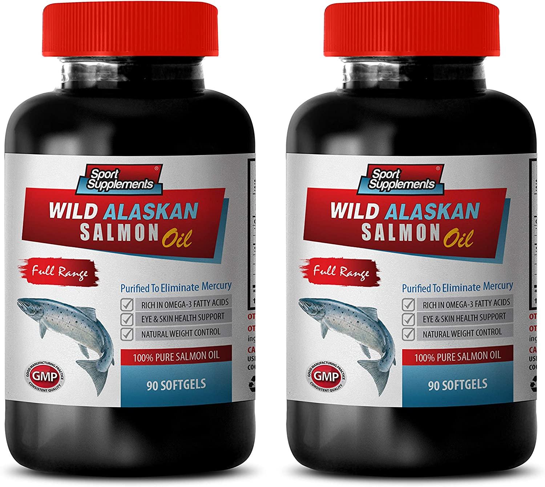 Brain Booster Vitamins - Wild Alaskan 100% Pure Salmon Oil - Fish Oil Omega 3 softgels - 2 Bottles 180 Softgels