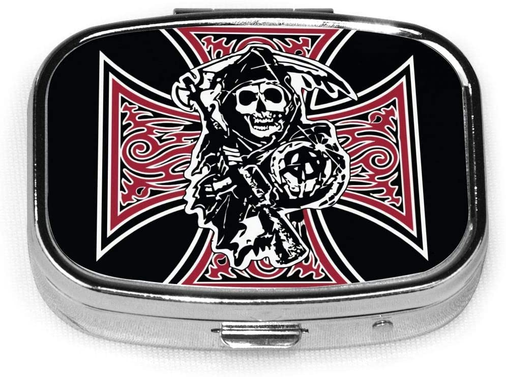 Wehoiweh Sons of Anarchy 2.2x1.6x0.7 Inch Mini Medicine Box, Full Size Printing is Easy to Carry