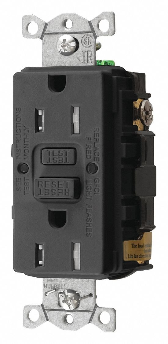 Hubbell Wiring Device-KELLEMS 15A Commercial Environments Receptacle, Black; Tamper Resistant: Yes