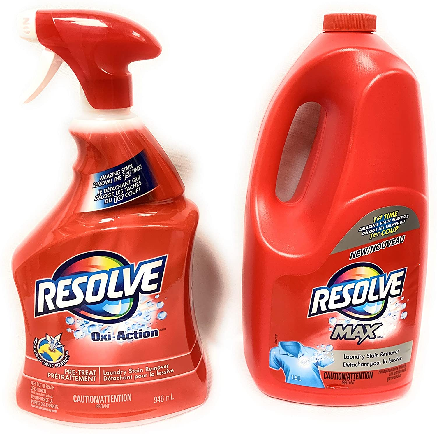 Resolve Oxi-Action (Spray 'N Wash) Trigger & Resolve Max Refill Value Pack, 32 fl.oz Trigger + 61 fl. oz. Refill