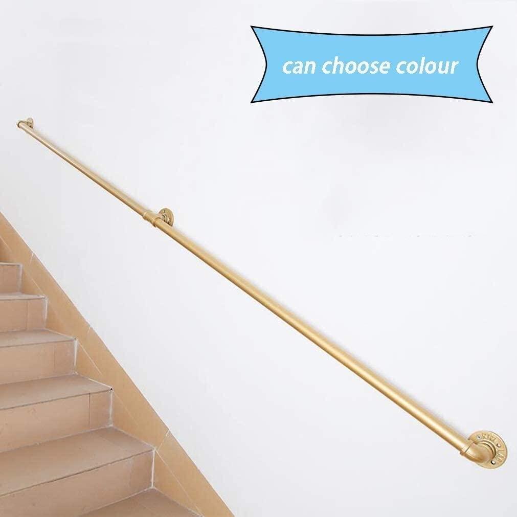 Indoor Villa Loft Non-Slip Wrought Iron Pipe Staircase Handrail, Against The Wall Elderly Handrails Kids Corridor Handrails For Outdoor Steps 0701 (Size : 18ft/540cm)