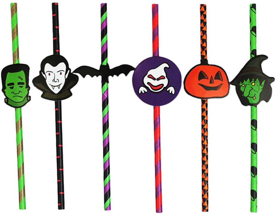 Qsir Halloween Funky Props Creative Party Straws Color Decorations Cartoon Paper Straws 50 Mixed(stick)