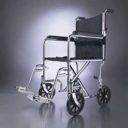 Medline Excel Narrow Steel Transport Wheelchair, 300 Lb Capacity, 17 Inch W, Latex Free