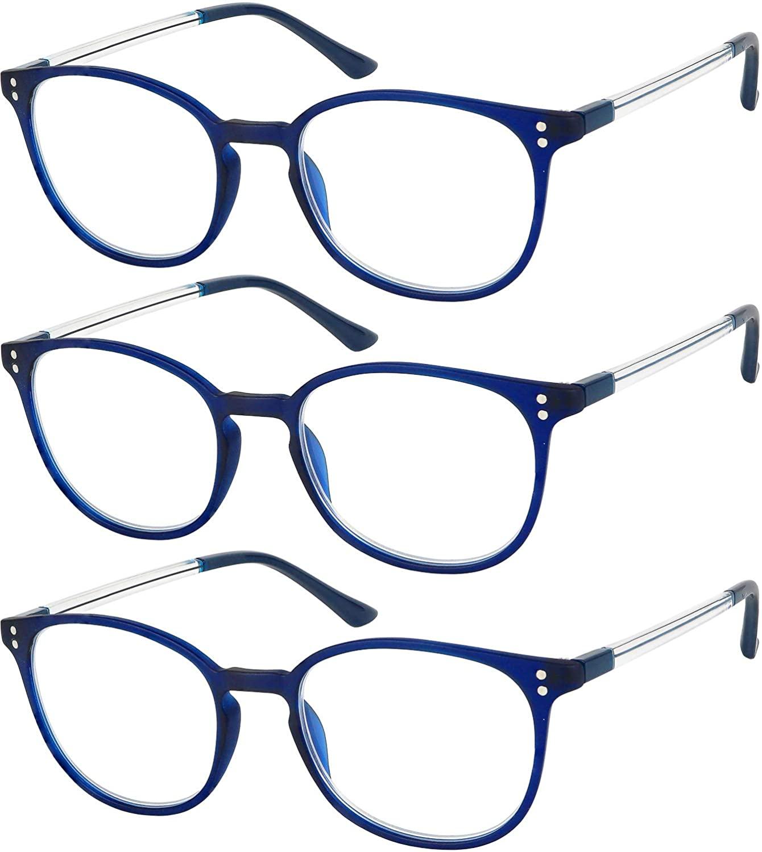 Reading Glasses 3 Pair Stylish Navy Readers Fashion Glasses for Reading Men & Women +2