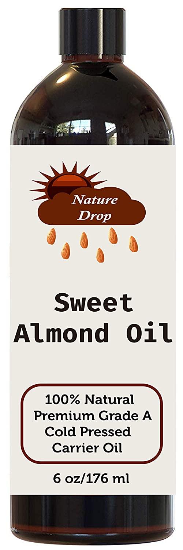 Nature Drop Natural Sweet Almond Oil - For Skin Moisturizer, Wrinkles, Massage, Anti-Aging (6 oz)