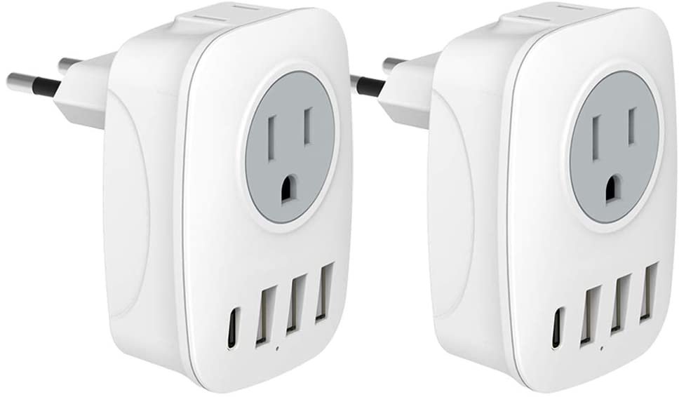 [2-Pack] European Travel Plug Adapter, aboutBit International Power Adaptor with 3 USB, 1 USB C, 6 in 1 Outlet Adaptor for US to Most of Europe, EU, France, Germany, Italy, Spain and More (Type C)
