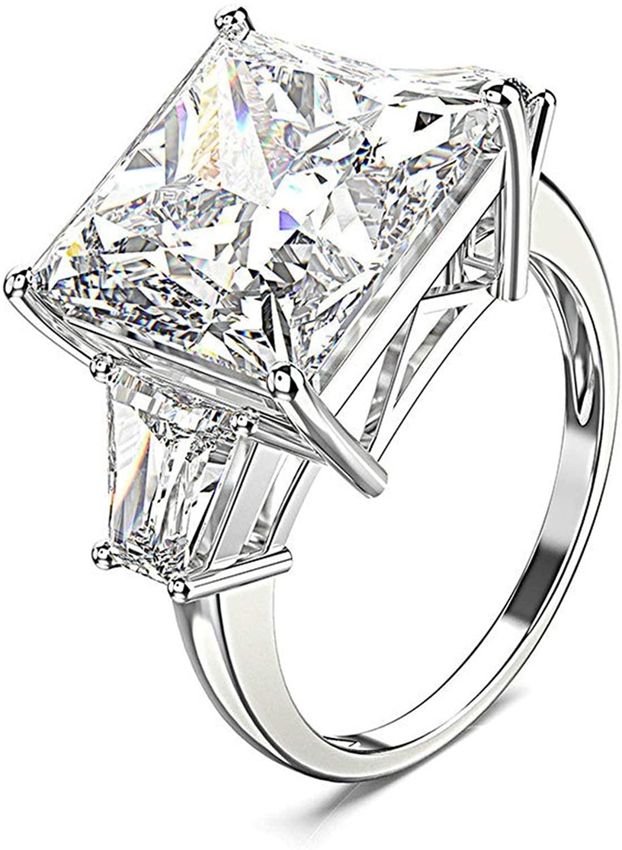 Beydodo Womens Engagement Rings 925 Silver, Romantic White Princess Cut Cubic Zirconia Size 5 to 12