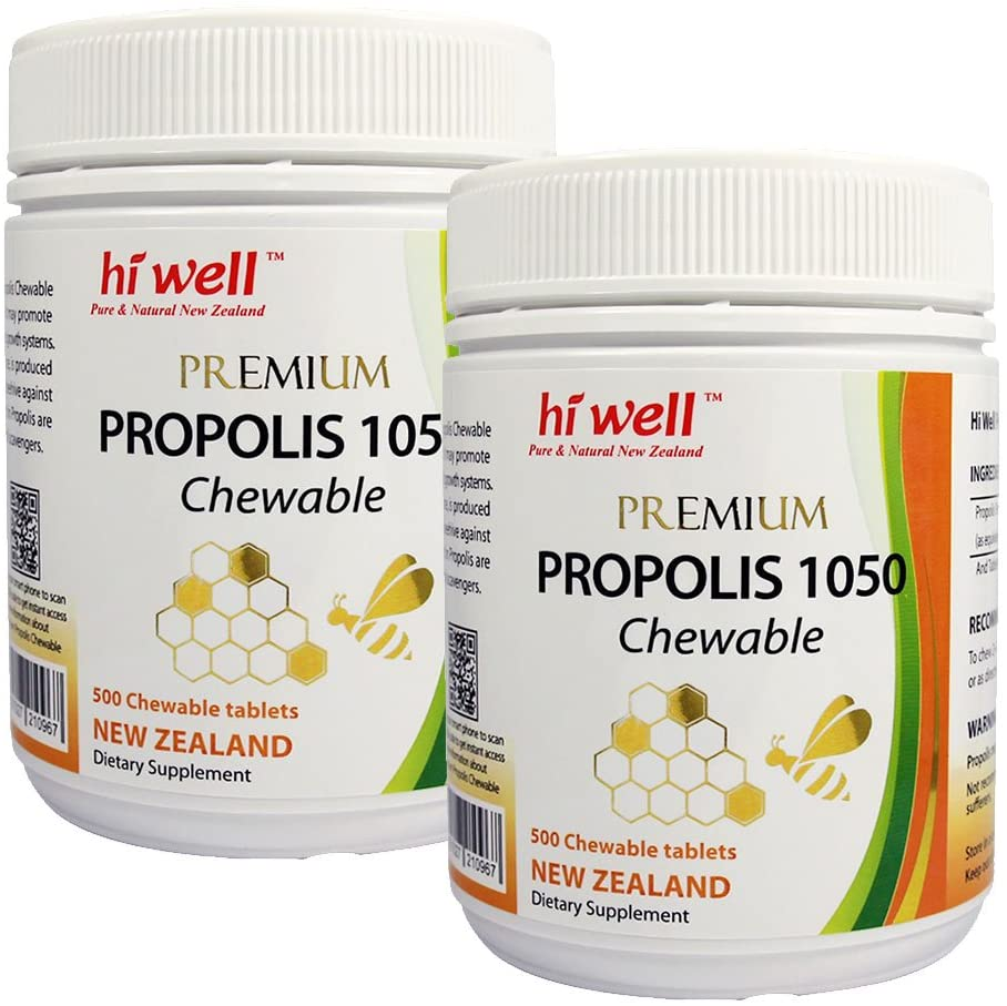 Hi Well Premium Bee Propolis 1050mg 500 Chewable Tablets New Zealand Bee Immune Support Vitamins Minerals & Antioxidants (Pack of 2)