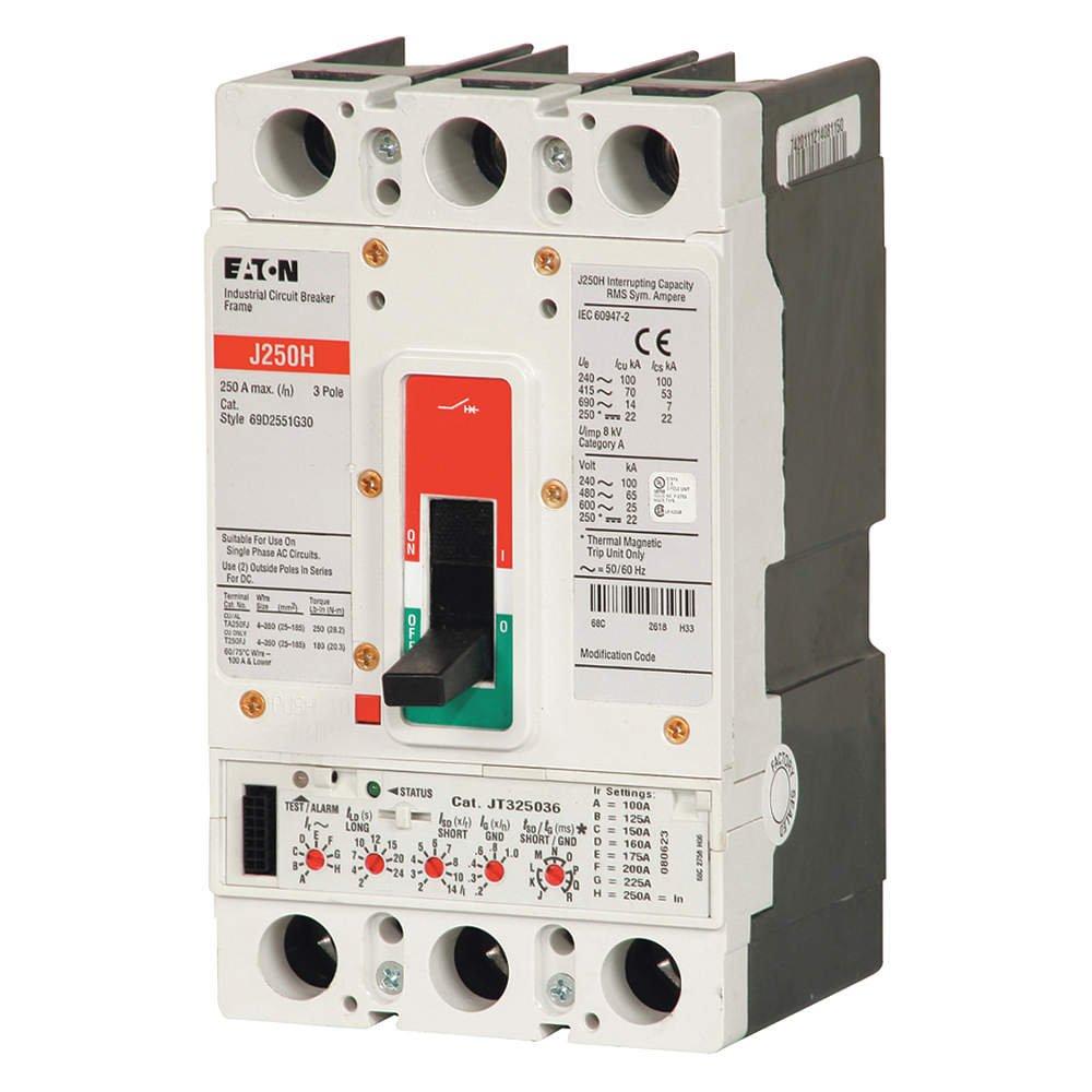 JGH3175FAG-Thermal Magnetic Circuit Breaker, JG Series, 600 VAC, 250 VDC, 175 A, 3 Pole, DIN Rail, Panel