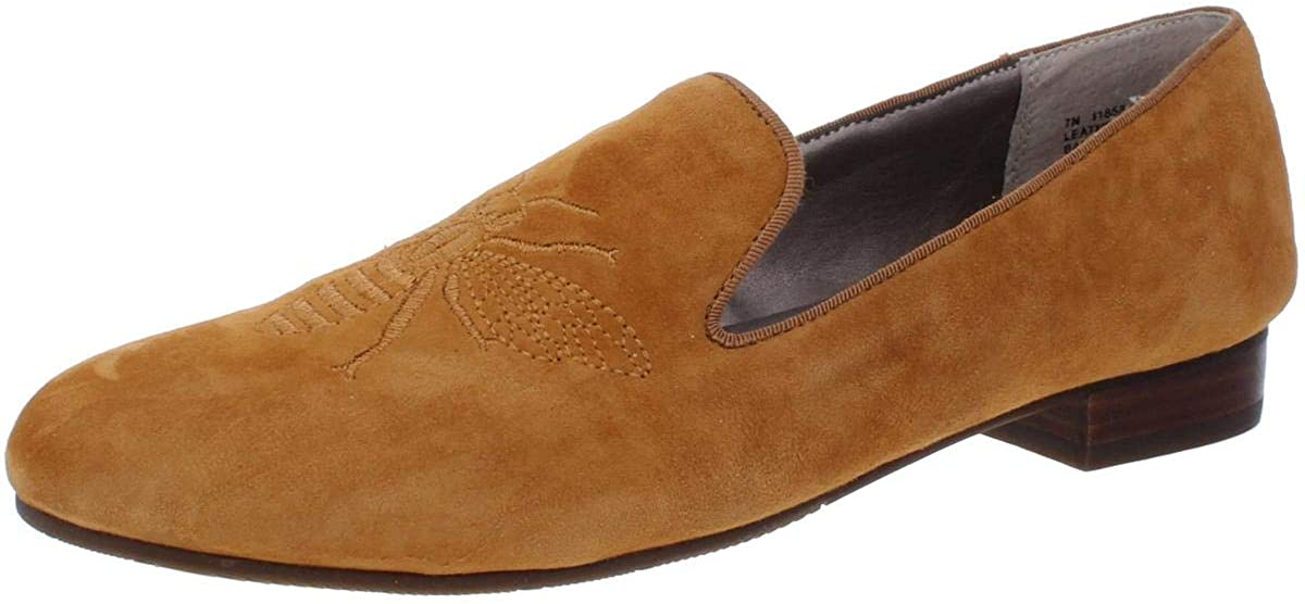 Array Womens Queen Bee Embroidered Pull On Loafers Gold 7 Narrow (AA,N)