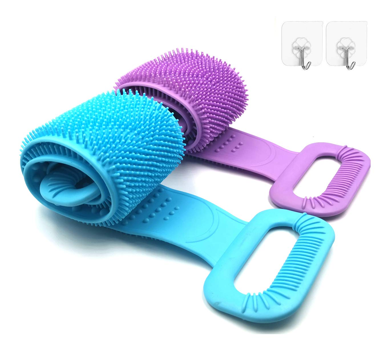 2 pcs silicone back scrubber for shower,back scrubber for shower for men and women,handle Body Washer, Deep Clean & Invigorate Your Skin (30in)
