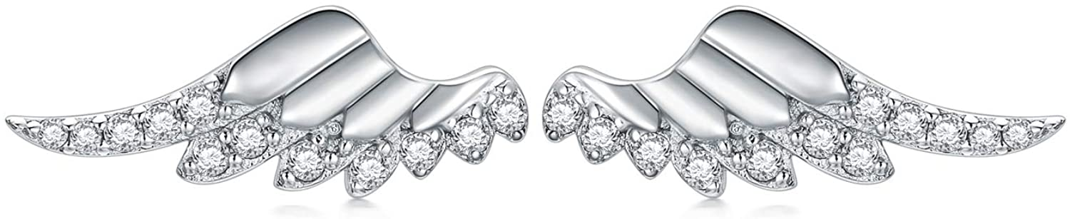 Sterling Silver Angel Wing Stud Earrings Make your Dream fly Wings Earring Jewelry for Girl Women